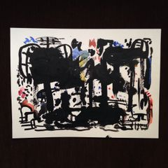 """9x12"""" original abstract watercolor and India ink"""