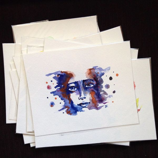 SOLD Cosmic face mini original watercolor