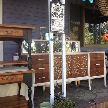 Hand painted and stenciled mid century modern dresser