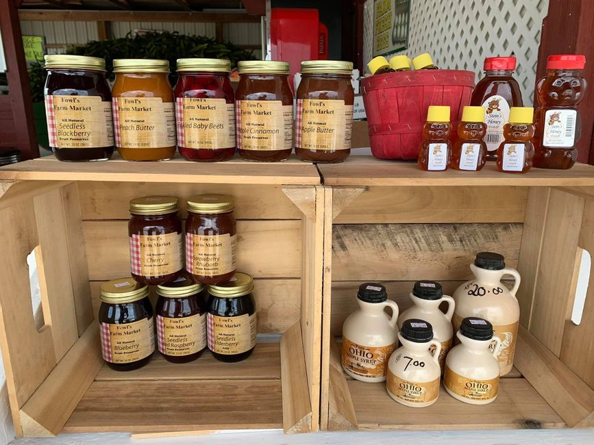 Preserves, jellies, jams and honey on display