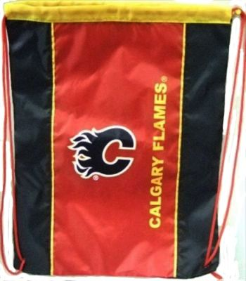 "CALGARY FLAMES NHL HOCKEY LOGO DRAWSTRING KNAPSACK BAG .. SIZE : 14"" X 18"" INCHES .. NEW"