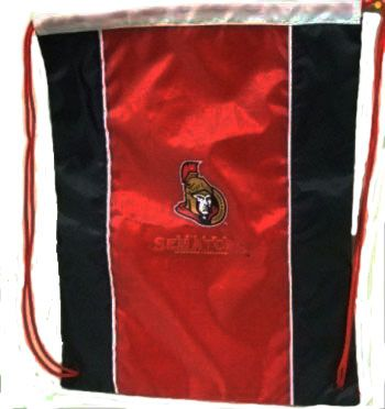 "OTTAWA SENATORS NHL HOCKEY LOGO DRAWSTRING KNAPSACK BAG .. SIZE : 14"" X 18"" INCHES .. NEW"