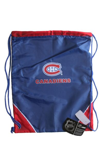 "MONTREAL CANADIENS NHL HOCKEY LOGO DRAWSTRING KNAPSACK BAG .. SIZE : 14"" X 18"" INCHES .. NEW"