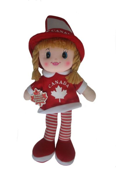 "CANADA GIRL KICKIN' PLUSH DOLL WITH HOOK AND WORD ""CANADA"" & MAPLE LEAF .. SIZE : 12"" X 7 1/2"" INCHES .. NEW"