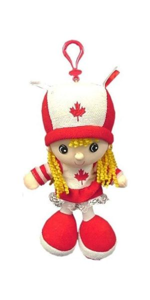 "CANADA SMALL GIRL KICKIN' PLUSH DOLL WITH HOOK .. SIZE : 10"" X 4 1/2"" INCHES .. NEW"