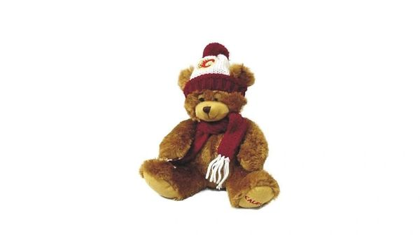 "CALGARY FLAMES 11"" INCHES NHL PLUSH BEAR WITH SCARF & HAT TOY .. NEW"
