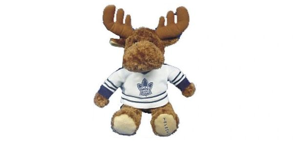 """TORONTO MAPLE LEAFS 11"""" INCHES NHL WHITE WITH OLD LOGO JERSEY PLUSH MOOSE TOY .. NEW"""