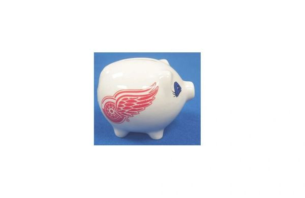 DETROIT RED WINGS NHL HOCKEY LOGO CERAMIC SMALL PIGGY BANK.. NEW