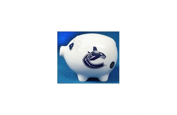 VANCOUVER CANUCKS NHL HOCKEY LOGO CERAMIC SMALL PIGGY BANK.. NEW
