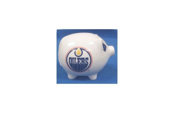 EDMONTON OILERS NHL HOCKEY LOGO CERAMIC SMALL PIGGY BANK.. NEW