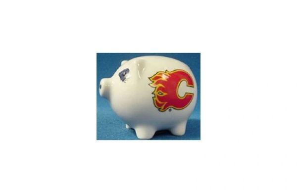 CALGARY FLAMES NHL HOCKEY LOGO CERAMIC SMALL PIGGY BANK.. NEW