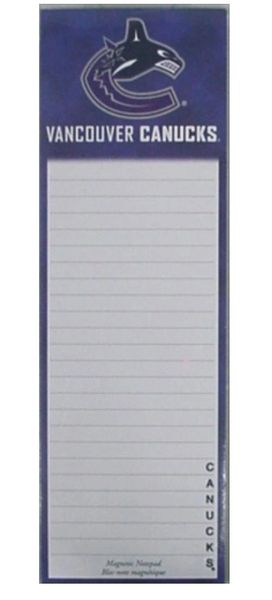 VANCOUVER CANUCKS NHL HOCKEY LOGO MAGNETIC NOTEPAD - 50 SHEETS .. NEW