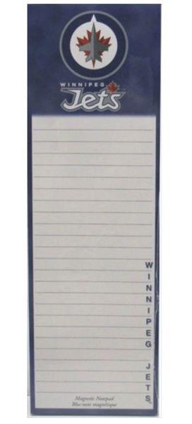 WINNIPEG JETS NHL HOCKEY LOGO MAGNETIC NOTEPAD - 50 SHEETS .. NEW