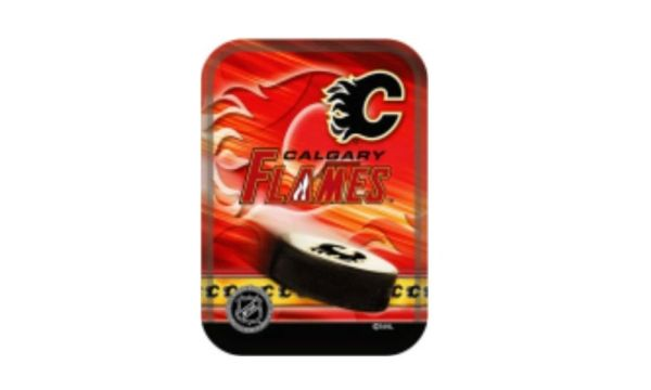 CALGARY FLAMES NHL HOCKEY LOGO PLAYING CARDS IN TIN BOX .. NEW