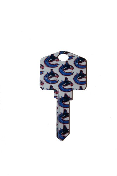 VANCOUVER CANUCKS NHL HOCKEY LOGO METAL KEY WR5 WEISER .. NEW