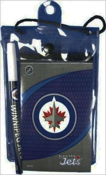 WINNIPEG JETS NHL HOCKEY LOGO FLIP NOTEPAD & PEN .. NEW