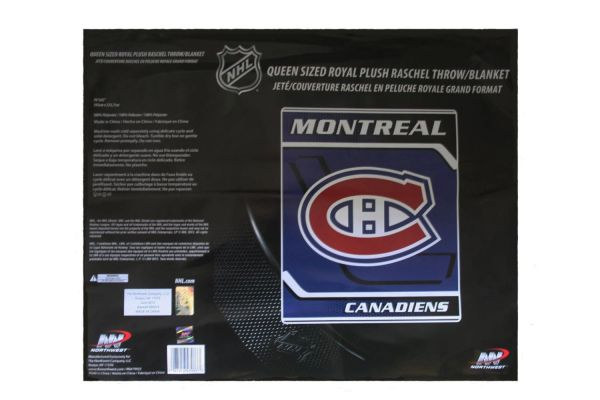 "MONTREAL CANADIENS NHL HOCKEY LOGO LUXURY PLUSH BLANKET .. SIZE : 76"" X 92"" INCHES .. LICENSED .. NEW"