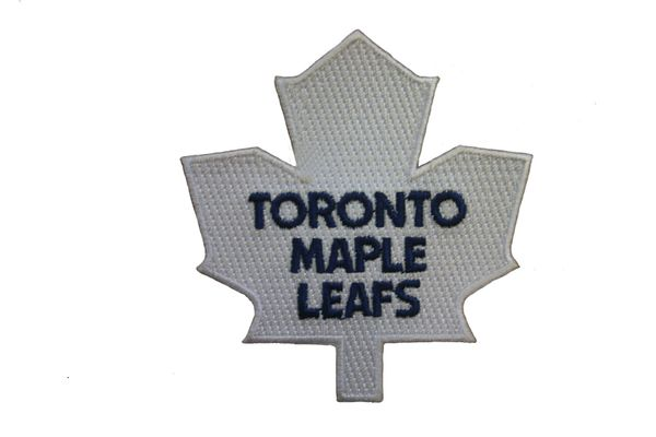 "TORONTO MAPLE LEAFS NHL HOCKEY LOGO WHITE EMBROIDERED IRON ON PATCH CREST BADGE .. SIZE : 3 1/4"" X 3 1/2"" INCHES .. NEW"