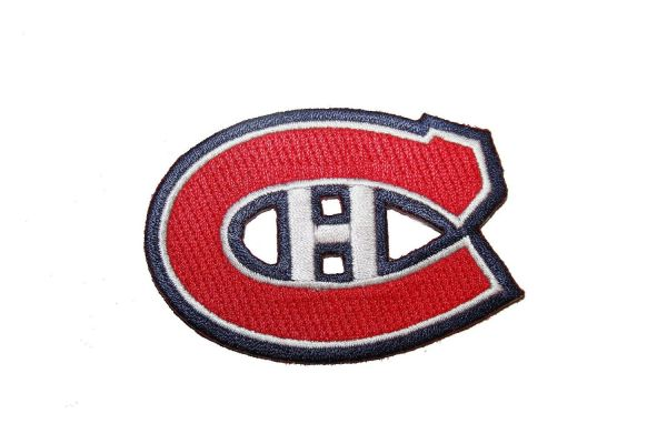 "MONTREAL CANADIENS NHL HOCKEY LOGO WHITE EMBROIDERED IRON ON PATCH CREST BADGE .. SIZE : 3"" X 2"" INCHES .. NEW"
