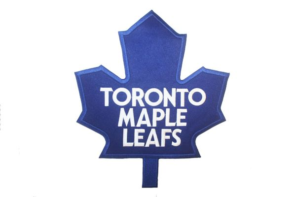 "TORONTO MAPLE LEAFS XXXLARGE NHL HOCKEY LOGO EMBROIDERED IRON ON PATCH CREST BADGE .. SIZE : 11"" X 9 1/2"" INCHES .. NEW"