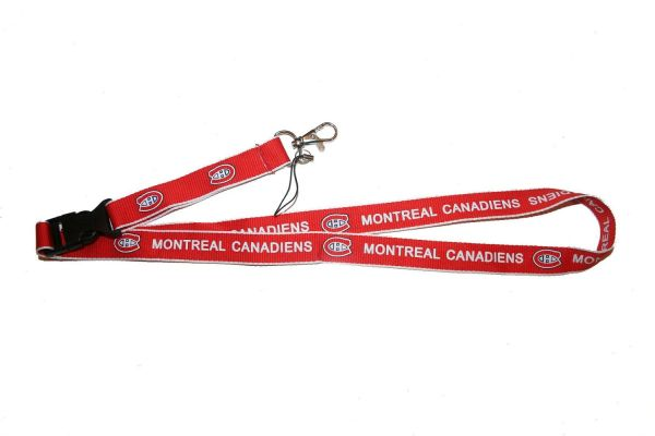 "MONTREAL CANADIENS NHL HOCKEY LOGO RED LANYARD KEYCHAIN PASSHOLDER .. 24"" INCHES LONG .. NEW"