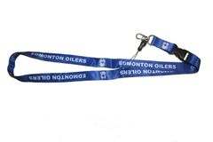 "EDMONTON OILERS & JERSEY NHL HOCKEY LOGO BLUE LANYARD KEYCHAIN PASSHOLDER .. 24"" INCHES LONG .. NEW"