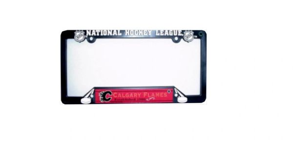 """CALGARY FLAMES NHL HOCKEY LOGO LICENCE PLATE FRAME.. SIZE : 12"""" X 6"""" INCHES ..NEW"""