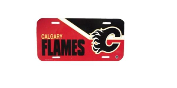 """CALGARY FLAMES NHL HOCKEY LOGO LICENCE PLATE ..SIZE 12"""" X 6"""" INCHES .. NEW"""