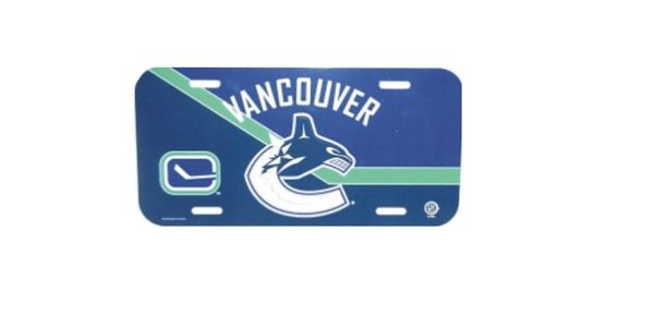 "VANCOUVER CANUCKS NHL HOCKEY LOGO LICENCE PLATE ..SIZE 12"" X 6"" INCHES .. NEW"