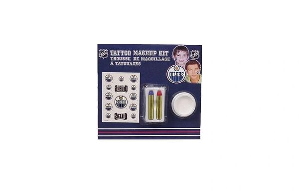 EDMONTON OILERS NHL HOCKEY LOGO TATTOO MAKEUP KIT .. NEW