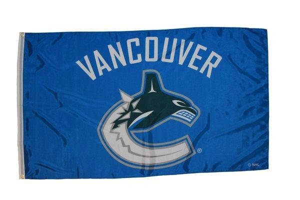 VANCOUVER CANUCKS 3' X 5' FEET NHL HOCKEY LOGO FLAG BANNER .. NEW AND IN A PACKAGE