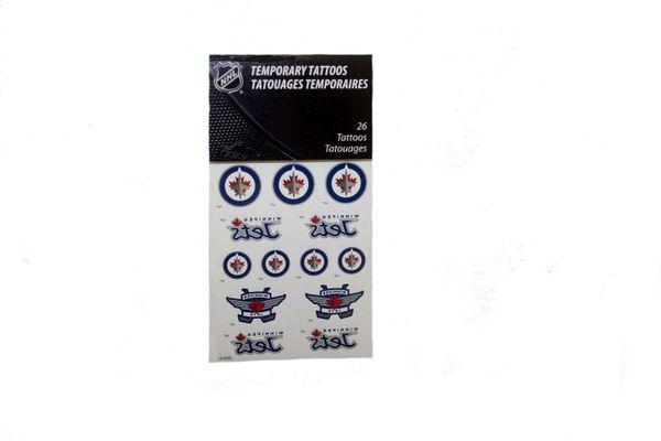 WINNIPEG JETS NHL HOCKEY LOGO TEMPORARY TATTOO .. 26 TATTOOS IN PACKAGE .. NEW