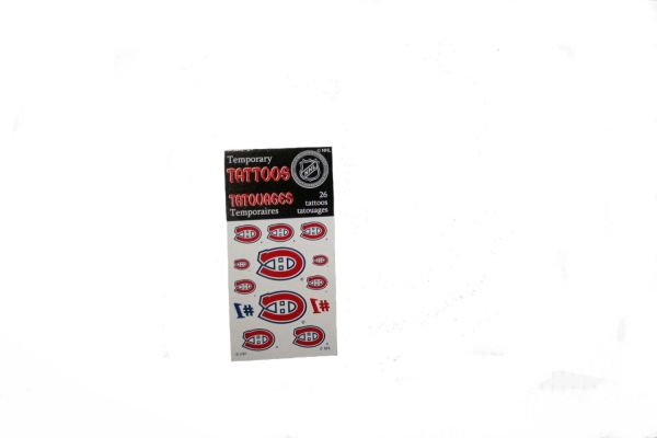 MONTREAL CANADIENS NHL HOCKEY LOGO TEMPORARY TATTOO .. 26 TATTOOS IN PACKAGE .. NEW