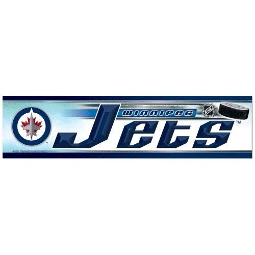 "WINNIPEG JETS NHL HOCKEY LOGO BUMPER STICKER BY WINCRAFT .. SIZE: 12"" X 3"" INCHES .. NEW"