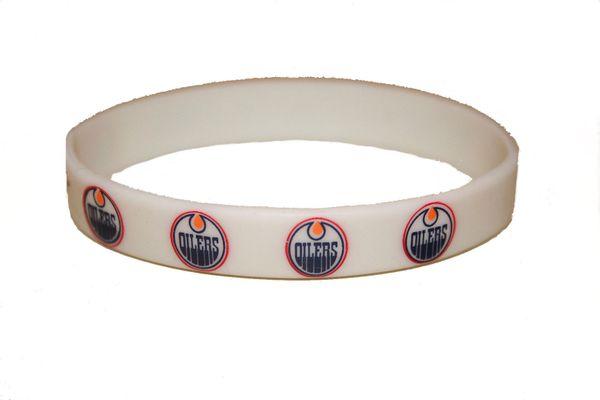 EDMONTON OILERS NHL HOCKEY LOGO SILICONE BRACELET .. NEW