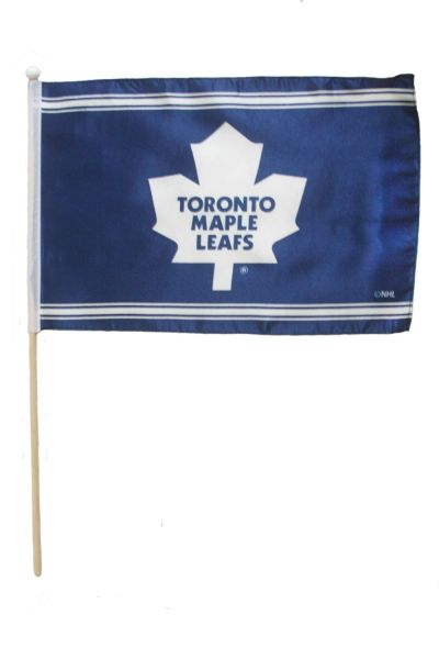 "TORONTO MAPLE LEAFS NHL HOCKEY LOGO FLAG BANNER WITH 23"" INCHES WOODEN POLE .. SIZE: 12"" X 18"" INCHES .. NEW"