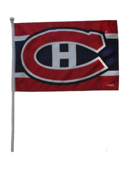 "MONTREAL CANADIENS NHL HOCKEY LOGO FLAG BANNER WITH 23"" INCHES WOODEN POLE .. SIZE: 12"" X 18"" INCHES .. NEW"