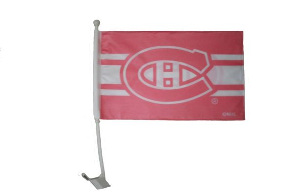 "MONTREAL CANADIENS PINK NHL HOCKEY LOGO HEAVY DUTY CAR FLAG .. SIZE: 12"" X 18"" INCHES ..NEW"