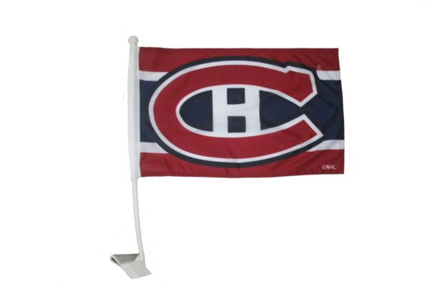"MONTREAL CANADIENS NHL HOCKEY LOGO HEAVY DUTY CAR FLAG .. SIZE: 12"" X 18"" INCHES ..NEW"
