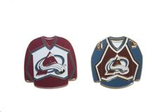 2 COLORADO AVALANCHE BLUE & RED JERSEYS NHL LOGO METAL LAPEL PIN BADGES .. NEW AND IN A PACKAGE