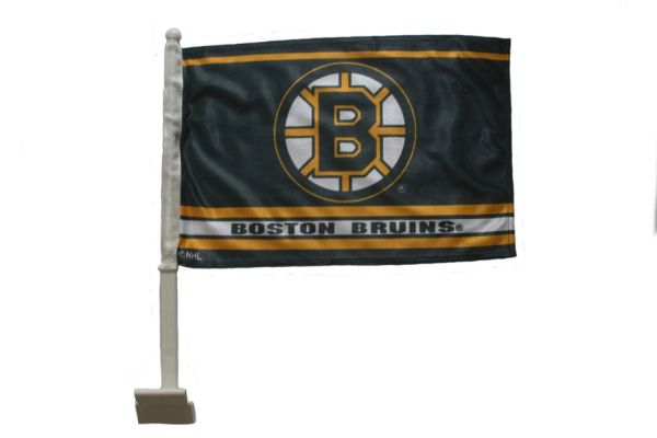 "BOSTON BRUINS NHL HOCKEY LOGO HEAVY DUTY CAR FLAG WITH STICK .. SIZE: 12"" X 18"" INCHES ..NEW"