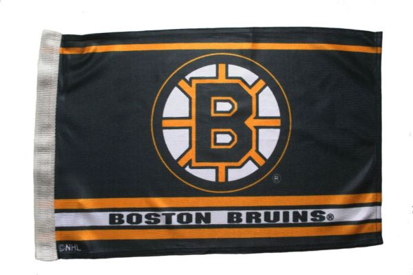 BOSTON BRUINS NHL HOCKEY LOGO HEAVY DUTY CAR FLAG WITH SLEEVE WITHOUT STICK .. NEW