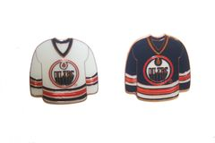 2 EDMONTON OILERS BLUE & WHITE JERSEYS NHL LOGO METAL LAPEL PIN BADGES .. NEW AND IN A PACKAGE