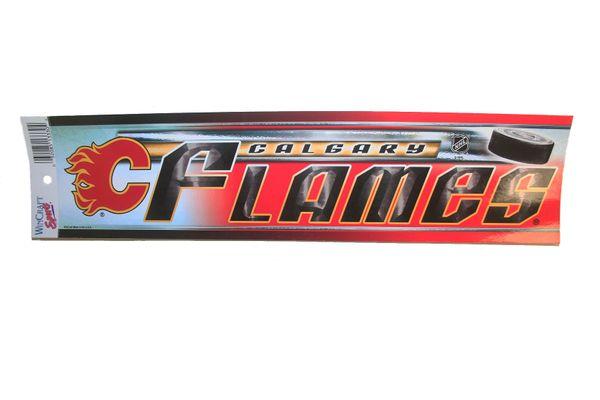 "CALGARY FLAMES NHL HOCKEY LOGO BUMPER STRIP ..SIZE : 13"" X 3"" INCHES .. NEW"