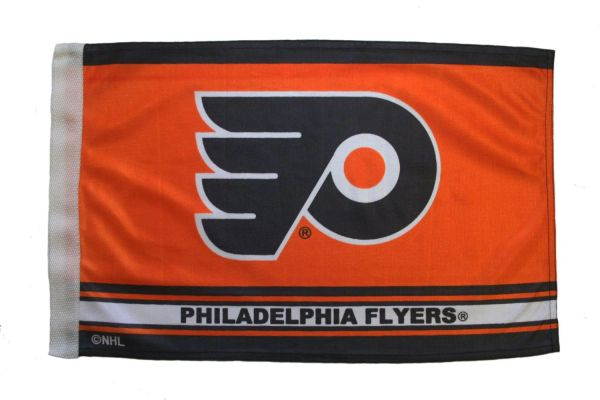 "PHILADELPHIA FLYERS NHL HOCKEY LOGO HEAVY DUTY CAR FLAG WITH SLEEVE WITHOUT STICK.. SIZE: 12"" X 18"" INCHES ..NEW"