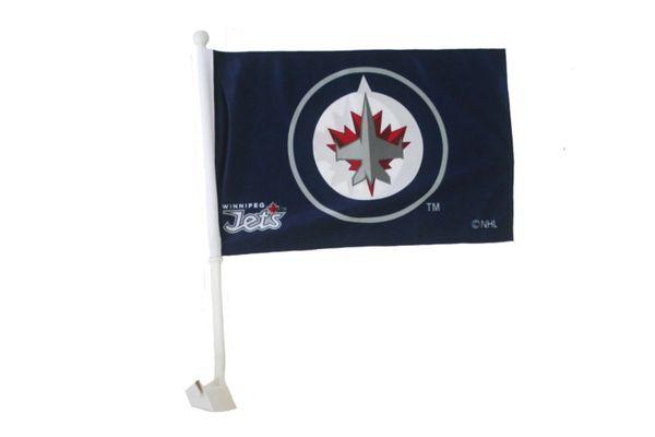 "WINNIPEG JETS NHL HOCKEY LOGO HEAVY DUTY CAR FLAG WITH STICK.. SIZE: 12"" X 18"" INCHES ..NEW"