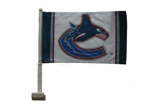 "VANCOUVER CANUCKS NHL HOCKEY LOGO HEAVY DUTY CAR FLAG WITH STICK.. SIZE: 12"" X 18"" INCHES ..NEW"