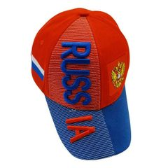 RUSSIA BLUE RED COUNTRY FLAG EMBOSSED HAT CAP .. NEW