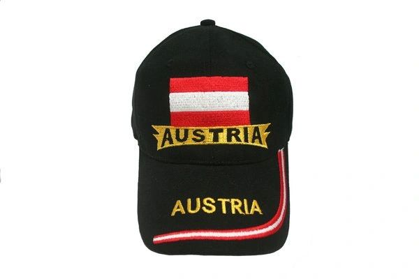 AUSTRIA BLACK COUNTRY FLAG EMBOSSED HAT CAP .. NEW