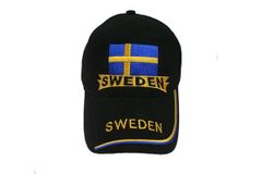 SWEDEN BLACK COUNTRY FLAG EMBOSSED HAT CAP .. NEW